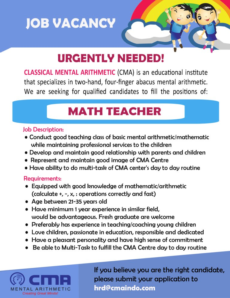 Job Vacancy - Math Teacher
